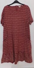 New Woman's FatFace Deep Claret Red Short Sleeve Floral Dress Size UK 18