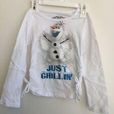 NEW, Frozen Olaf Just Chillin White Glitter Girls Long Sleeve Side Tie Top