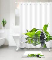 Waterproof Fabric Shower Curtain Bamboo Leaf Spa Massage Stone Bathroom Hooks