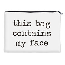 Cosmetic bag pencil case white black text stocking stuffer