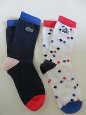2 PAIRS Lacoste boys navy blue ankle socks UK shoe size 1 - 2 NEW NO PACKAGING