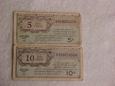 LOT OF 2 US MILITARY PAYMENT CERTIFICATES 10 cents & 5 cents ~ SERIES 461