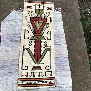 Vtg Wall Hanging Woven Fiber Art Tapestry Southwestern Weaving Textile MCM Boho