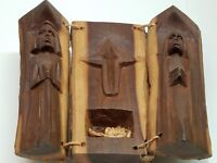 Vintage Hand Carved Nativity From Solid Wood Tree Branch Marry Baby Jesus Joseph