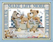 Bubble Bath Teddy Bears 14ct Cross Stitch Kit - Brand New