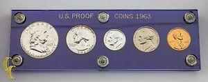 1963 US Proof Set Franklin Washington Jefferson Roosevelt Lincoln 5 pc Coins