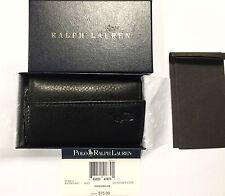 Polo Ralph Lauren Slim Black Leather Japan Key Case Wallet Organizer in box $75