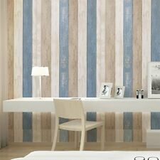 Wood Panel Peel and Stick Wallpaper Sea Blue/Cream/Tan Self Adhesive Contactpape