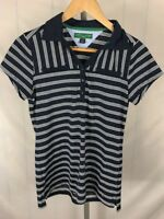 Tommy Hilfiger Golf Womens Navy Blue Striped Pique Polo Casual Shirt Medium (U)