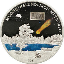 ¤RARE¤ Cook Islands 5 Dollars 2011 Silver The Muonionalusta Meteorite
