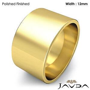 Men's Plain Wedding Band Flat Pipe Cut Ring 12mm 18k Yellow Gold 13.5gm 8-8.75