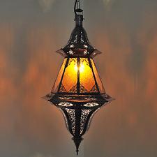 """Arabische Laterne Marokko Lampe Hängeleuchte Marokkanische """"Chinouasa"""" Amber"""