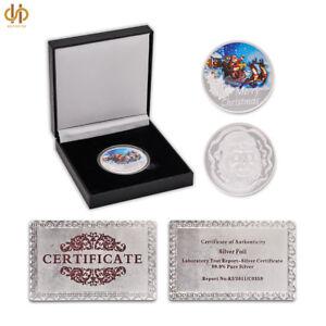 Silver Merry Christmas 2018 Santa Claus Snowman Elk Coin W/ Luxury Coin Box