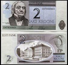 Estonia P85b, 2 Kroon, geographer Karl Emst von Baer/ Rartu University. 2007 UNC