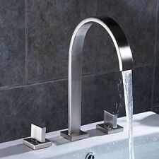 Aquafaucet Waterfall Brushed Nickel Widespread Bathroom Sink Faucet 3 Hole Mixer