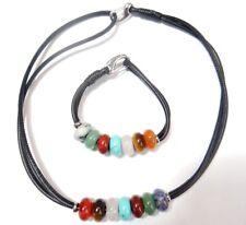 Natural agate Rose Quartz Turquoise beads & Black Leather Rope Necklace Bracelet