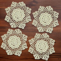 4Pcs/Lot Vintage Lace Doilies Hand Crochet Cotton Table Mats Cup Coasters 20cm