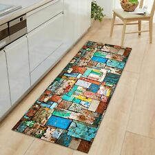 Vintage Colorful Wood Grain Floor Kitchen Bedroom Mat Non-slip Area Rugs Carpets