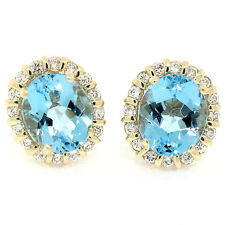 14k Yellow Gold 12.16ctw Oval Blue Topaz & Bar Set Diamond Halo Button Earrings