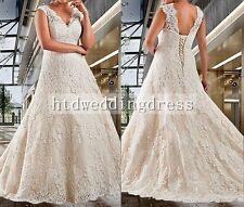 Custom Plus Size Lace Bridal Gown Wedding Dress 16-18-20-22-24-26++