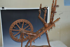 Antique Spinning Wheel inlaid small ornate German Bridal Flax