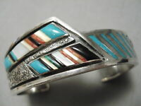 THICKER VINTAGE NAVAJO TURQUOISE CORAL STERLING SILVER INLAY BRACELET