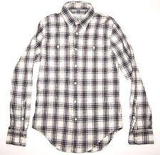 NEW CLUB MONACO Men's Slim Fit Button Down Shirt Gray Plaid - Small Linen Cotton
