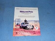RIKKY and PETE  One Sheet with two sides VHS Poster sales flyer from Video Store