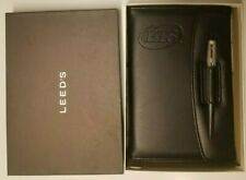 Leeds Leather Padfolio Organizer with Letter Note Pad Holder Pen w Holder In Box