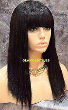 Long Straight With Bangs Dark Brown Full Wig Hair Piece #2 NWT