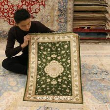 YILONG 2'x3' Green Hand Knotted Silk Area Rug Medallion Hand Woven Carpets J16B