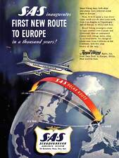 Vintage SAS Scandinavian Airlines Flights to South Africa Poster A3//A2 Print