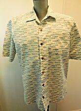 L.L. Bean Medium Men's Button Front Short Sleeve Cotton Shirt with Fish Print