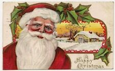 """A Happy Christmas"" Santa Home 1912 Postcard"