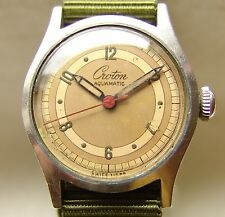 Men's WWII period CROTON AQUAMATIC good condition military style wristwatch
