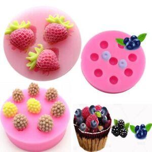 3D Silicone Blueberry Strawberry Fondant Mold Cake Decor Chocolate Baking Mould
