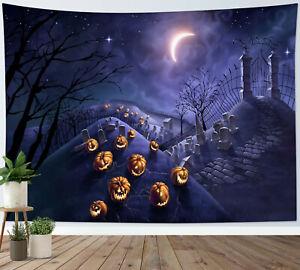 Halloween Scary Graveyard Pumpkin Tapestry Wall Hanging For Living Room Bedroom