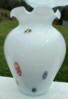 "Murano Opalescent Millefiori Vase 10.5""H x 8""W Excellent  Vintage Label"