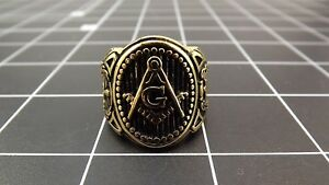 Anodized Gold Plated Stainless Steel Enamel Free Mason Masonic Ring