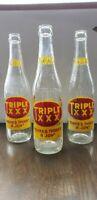 Lot of 3 Vintage Triple XXX 10oz Soda Bottles Pop Memorabilia