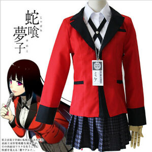 Kakegurui Yumeko Jabami School Girls Uniform Full Set Cosplay Costume/Dress New