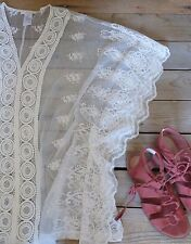 Small Kaftan Swim Cover Lace Top Butterfly Calypso Tunic Eyelet Floral Lace