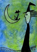 21021316 e9Art ACEO Cat Moon Witch Outsider Folk Art Brut Halloween Painting ATC