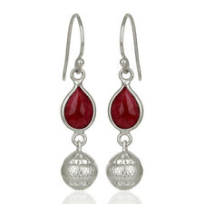 Filigree Designer 925 Silver Gemstone Dangle Ruby Earrings Womens Jewelry