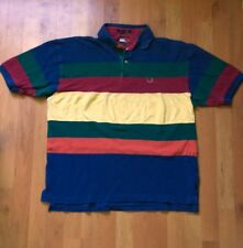 Vintage 90s Tommy Hilfiger Striped Color Blocked Polo T Shirt Rainbow Size XL