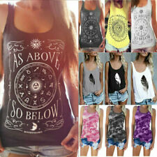 Women Summer Casual Loose Fit Tank Tops Camo Beach Cami Vest T-Shirt Holiday