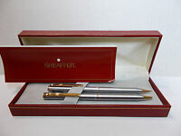 Sheaffer White Dot Pen & Pencil set brushed silvertone w/ gold accents  w/ box