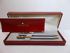 Sheaffer White Dot Pen & Pencil set brushed silvertone w/ gold accents w/ box