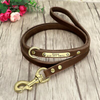 Leather Dog Lead With Personalised Dog ID Tags Engraved Walking Training Leads