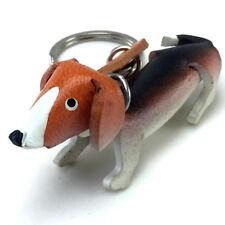 3D Animal Key Ring DACHSHUND Leather Keychain Keyring Bag Belt Holder Gift Box
